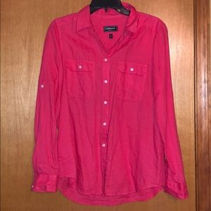 Coral colored button down